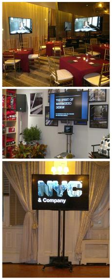 Event AV Production, AV equipment rentals, AV NYC rent TV rent monitor delivery and professional TV installation.