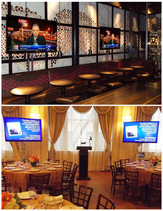 Rent flat screen TV, all AV: monitor rentals, Two 60'' TVs, podium and sound system installation for event in NYC