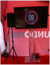 Live TV broadcasts, systems TV for rent: 60'' Sharp TV on truss stand with external EV 1000 Wt speaker professional AV setup